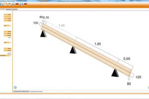 Die Bemessungssoftware ermittelt die Werte der Überbelastung vor und die Belastungswerte nach der Sparrenaufdopplung