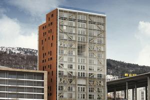 """Blick auf die Nordfassade, das Holzfachwerk ist hinter Glas verborgen<span class=""""bildnachweis"""">Foto: Sweco/Artec/3Seksti</span>"""