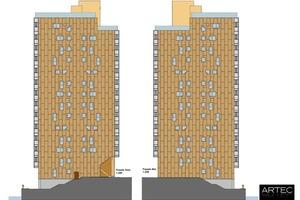 Zeichnung der Ost- und die Westfassade (rechts bzw. links) mit der vorgehängten Cortenstahl-Fassade          Maßstab 1:200, Quelle: Artec