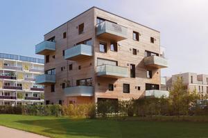 Der Woodcube, ein vierstöckiges Holzgebäude mit Bauteilen aus unverleimten Mehrschichtplatten, gilt als eines der Aushängeschilder für den Holzbau im norddeutschen Raum