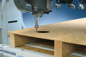 Aussparungen für Steckdosenlöcher werden mit einem CNC-Fräsaggregat in ein Holzrahmenelement gefräst<br />