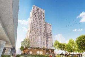 So soll das Holzhochhaus in Wien aussehen, im kommenden Jahr soll es fertig gestellt werden Visualisierung: Rüdiger Lainer + Partner Architekten/A3ZO