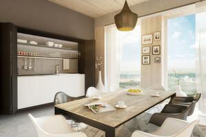 Visualisierung eines Apartements im zukünftigen Holzhochhaus Wien