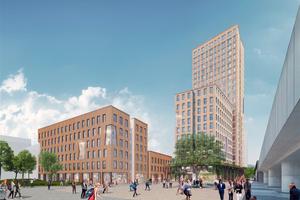 So sollen Holzhochhaus Wien (rechts) und HoHo Next (links) ab nächstem Jahr aussehen