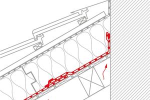 """Kaschierte Dämmstoffe sind in der Fläche zwar luftdicht. In Stoß- und Anschlussbereichen müssen sie aber zusätzlich mit einer Luftdichtungsbahn abgedichtet werden <span class=""""bildnachweis"""">Grafiken: Pro Clima</span>"""