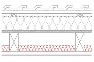 Unterhalb der Luftdichtung oder Dampfbremse sollte zwischen den Sparren nicht zu viel Dämmstoff eingebaut werden