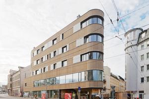 """Der Fünfgeschosser """"Z8"""" in Leipzig: Hinter der Fassade aus Lärchenholzbrettern stecken dicke Wände aus Brettsperrholz"""