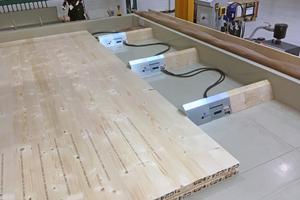 """Die Lamellen werden mit hydraulischen Zylindern quergepresst<span class=""""bildnachweis"""">Fotos: Woodtec Fankhauser </span>"""
