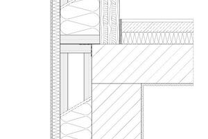 1Bestandswand/Betondecke 2Aufstockung, Massivholzwand 3Stegträger mit Holzfaserein- blasdämmung 4Gefachabschluss mit Furnierschichtholz 5WDVS mit Holzfaserplatte