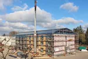 45 Holzmodule bilden das Studentenwohnheim in Bielefeld, das fast fertig ist (Stand: Ende Februar 2018)Foto: Stephan Thomas