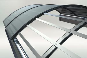 """Integrierte Durchsturzsicherungen """"ID1200 plus"""" für Lichtbänder: Stahlgurte in der Aluminiumkonstruktion verhindern Durchstürze"""