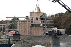 Die mit Brettschichtholztafeln beplankten Holzständerwände werden eingehoben und montiert