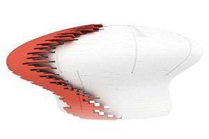 Isometrie der Tragstruktur aus gekrümmten und versetzt gestapelten Brettsperrholz-Ringsegmenten