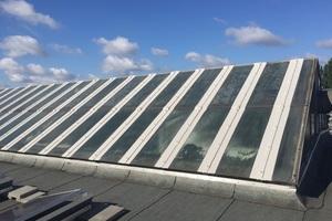 Insgesamt 1400m Glasleisten dichteten die Dachdecker mit schnell aushärtendem Flüssigkunststoff innerhalb von zwei Wochen ab