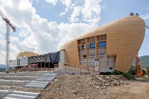 """Eine Holzschalung bildet die Basis für die Zinkbleche. Die hier noch offenen Stellen in der Fassade werden später mit perforiertem Zinkblech bekleidet, das Licht ins Gebäude lässt<span class=""""bildnachweis""""></span>"""