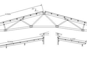 Dachneigung, Entfernung Traufe – First und Unterstützungsabstände Zeichnung: Hiwo Systembau GmbH