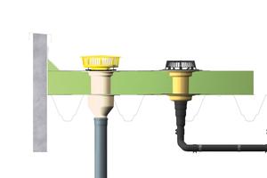 """Ein Notentwässerungssystem mit dem Anstauelement """"SitaMore"""" (links) eignet sich vor allem für große Flachdächer"""