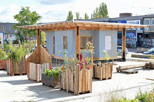 Der Pavillon auf dem Areal der ehemaligen Kindl-Brauerei soll über Planungs- und Bauprozesse auf dem Gelände informieren