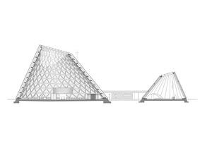 Querschnitt von Kirche und Kapelle in Holzkirchen: Kirche (links) und Alltagskapelle (rechts) sind durch ein verglastes Foyer miteinander verbunden⇥Ohne Maßstab, Quelle: Eberhard Wimmer Architekten