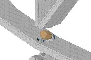 """Indem man die Stahlknoten teilweise durch Buchensperrholzklötze ersetzte, reduzierte man den Stahlanteil des Tragwerks<span class=""""bildnachweis"""">Grafik: Sblumer ZT GmbH, Graz</span>"""