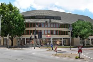 CityBogen in Nordhorn mit fertig eingedecktem, rundem Dach