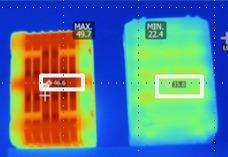 """In der Thermografie sieht man, dass der """"ProCORE"""" Akku die Wärme deutlich besser nach außen leitet als das Wettbewerbsprodukt (rechts)"""