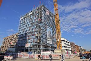 Rohbau des zehngeschossigen Holz-Beton-Hybrids in Heilbronn im neuen Stadtquartier Neckarbogen⇥Text+Foto: Rüdiger Sinn