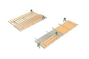 """Nicht nur als Montagetisch für Wände, sondern auch zur Vorfertigung von Dachelementen ist der Woodtec-Elementbautisch geeignet: Dabei wird entweder die Dachseite auf einmal ausgelegt oder man stückelt das Dach in immer gleiche Elemente und setzt auf Serienproduktion<span class=""""bildnachweis"""">Schematische Zeichnung: Woodtec Fankhauser</span>"""