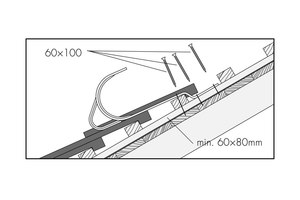 """Montageskizze eines Sicherheitsdachhakens vom Typ A, der nur zur Sicherung in der Falllinie geeignet ist, nicht aber über den Dachfirst hinaus<span class=""""bildnachweis"""">Zeichnungen: Klöber</span>"""
