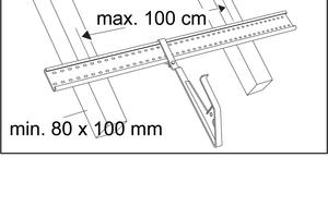 Der maximale Sparrenabstand für die Montage eines Sicherheitsdachhakens vom Typ B beträgt 100 cm
