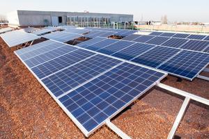 Die Dachbegrünung, die hier noch nicht angewachsen ist, soll dafür sorgen, dass die Temperaturen unter den Solarmodulen nicht zu hoch werden