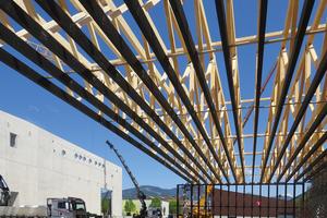 """Die Dachkonstruktion besteht aus Fachwerkträgern mit 66 m Spannweite<div class=""""bildnachweis"""">Foto: Swiss Krono</div>"""