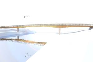 Schematische Darstellung der Brücke in der Planungsphase Quelle: Ingenieurbüro Miebach <br /> <br /> <br />