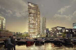 """In Amsterdam entsteht zur Zeit der Rohbau des 73 m hohen Wohngebäudes """"Haut"""" – im Februar war der Baubeginn<br />"""
