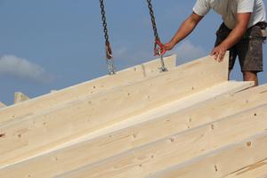 Die Dachelemente sind mit bis zu 16m Länge erhältlich und ermöglichen Holzbaubetrieben eine schnelle Montage