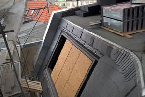 Die horizontale Schiene für das Seilsicherungssystem ist über der Festverglasung im Dach eingebaut