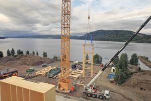 """Die Arbeiten am Mjøstårnet begannen im September 2017<span class=""""bildnachweis"""">Fotos: Moelven</span>"""