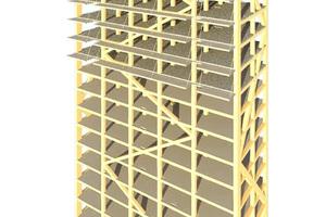 Das Gebäude im 3D-Modell mit vertikalen Streben und Diagonalen Grafik: Moelven