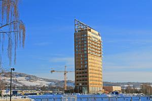 Mit seiner Fertigstellung ist Mjøstårnet das derzeit höchste Gebäude der Welt aus Holz Foto: Moelven <br /> <br /> <br />