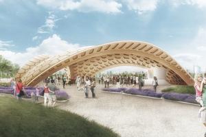 """Der Entwurf für den Holzpavillon auf der Bundesgartenschau orientiert sich an Formen aus der Natur <span class=""""bildnachweis"""">Rendering: ICD/ITKE</span>"""