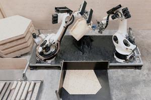 Zwei Roboter haben bei der Firma Müllerblaustein die 400 Holzkassetten für den Pavillon zusammengebautFoto: ICD/ITKE