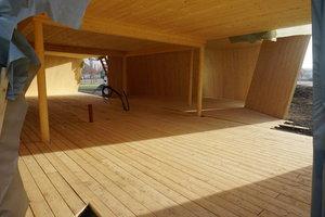 Innenansicht des Pavillons in der Bauzeit<br />
