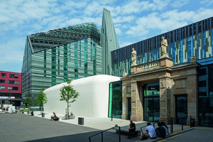 Der Hörsaal ist Teil des 2012 fertiggestellten Neuen Augusteums, dem Hauptgebäude der Universität Leipzig<br />Foto: Punctum/Audimax Leipzig