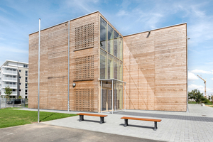 Die Integrierte Gesamtschule Kalbach-Riedberg in Frankfurt erhielt ebenfalls eine Anerkennung als Neubau beim Dt. Holzbaupreis 2019