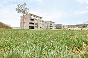 """Die zwei viergeschossigen Mehrfamilienhäuser sind fast ausschließlich mit """"Lignotrend""""-Bauteilen konstruiert und mit einem Holzfaser-Wärmedämmverbundsystem gedämmt<span class=""""bildnachweis"""">Foto: Foto&amp;Design / WT</span>"""