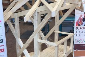 Die Wettbewerbsaufgabe steht seit Ende April fest: der Bau eines Holzpavillons mit 2,4 m Höhe. Hier ein Modell, das Alexander Bruns im Training gebaut hat<br />