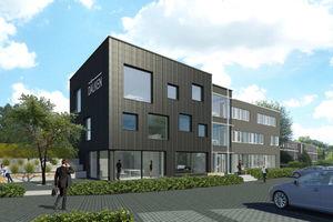 """Das Verwaltungsgebäude in Georgsmarienhütte erhält eine Fassade aus geflämmtem Accoya-Holz<span class=""""bildnachweis"""">Visualisierung: Dälken Ingenieurgesellschaft mbH</span>"""