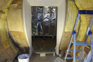 Unterkonstruktion für die Schindeln aus nass gesägten und gebogenen Fichtenlatten Foto: Zimmerei Beyerl
