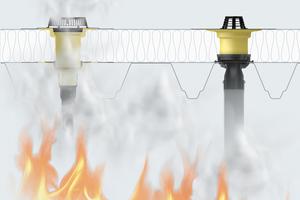 Im Brandfall dehnt sich die Brandschutzmanschette aus und drückt den Anschlussstutzen ab. Die Dachöffnung wird verschlossen