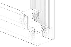 Eckverbindung der gefrästen Kanthölzer, vom ICD der Universität Stuttgart konzipiert